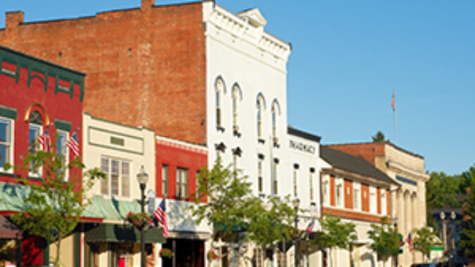 """streetscape of small businesses on """"main street"""""""