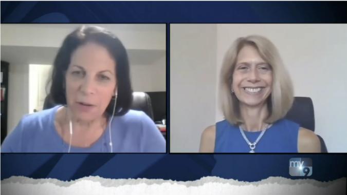 Screenshot of NJBIA President and CEO Michele Siekerka talking to NJ Now host Dianne Doctor