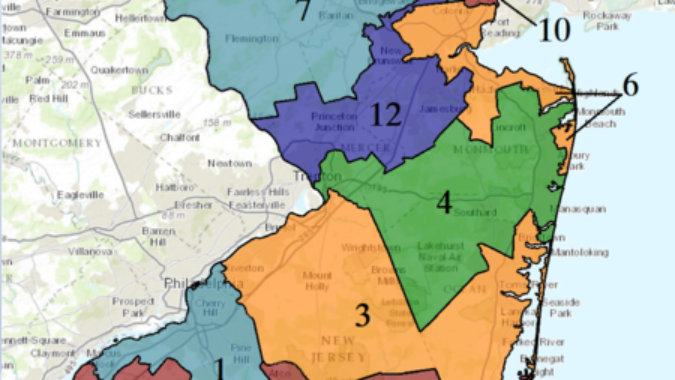 Map outlining NJ's congressional districts