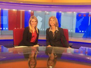 News 12's Katie Kyros and Michele Siekerka on the News 12 set