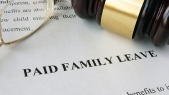 Gavel on paid family leave form.