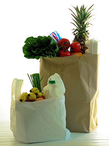 photo of plastic and paper shopping bags