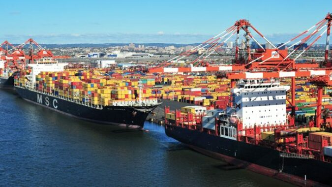Cargo ships in port