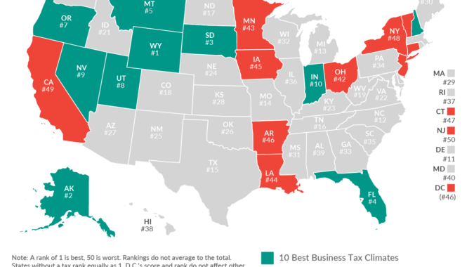 Map of United States with the Tax Foundation ranking of each state