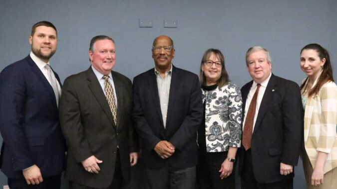 From left to right: NJBIA's Andrew Musick; Jim Venere, of KPMG, LLP; Assemblyman Gordon Johnson; Deborah Bierbaum of AT&T; Michael Eganton and Laura Hahn of the State Chamber of Commerce