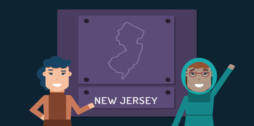 Animation of two teen girls standing in front of an outline of New Jersey