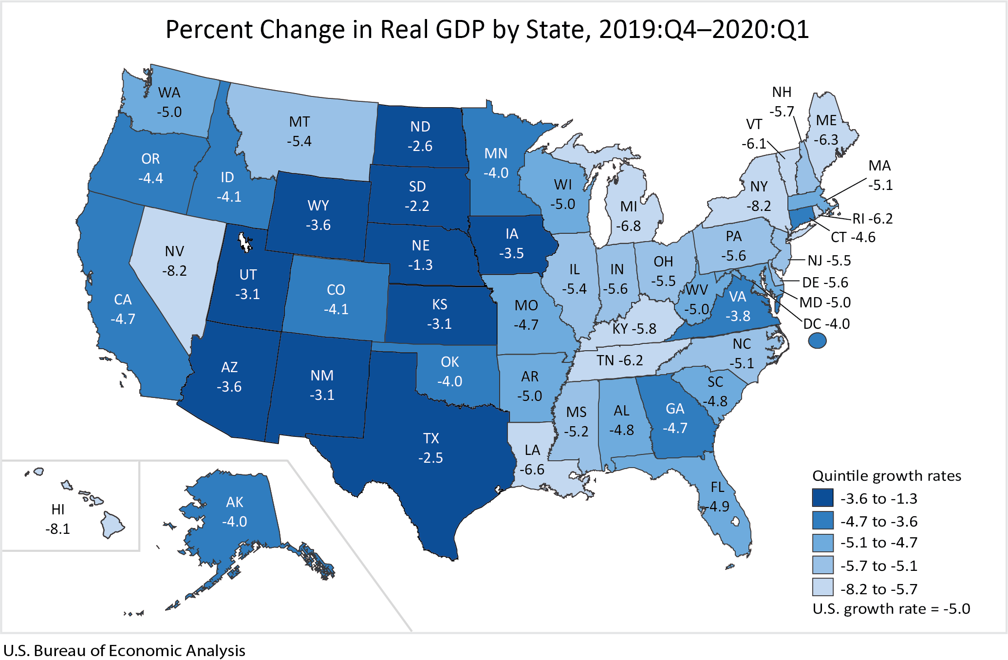 Chart: percent change in Real GDP by State, 2019:Q4-2020:Q1