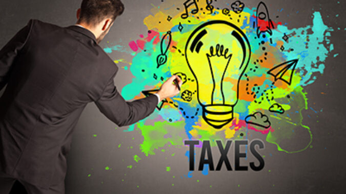 new business idea concept with taxes written beneath it